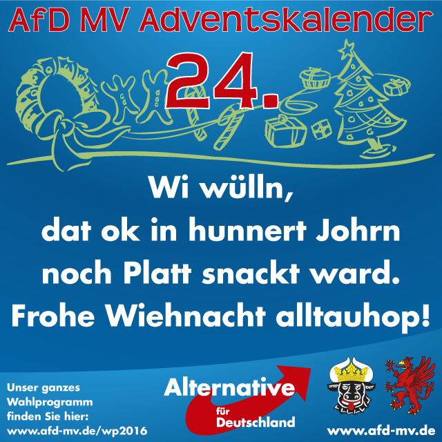 Frohe Weihnachten Plattdeutsch.Afd Mv Adventskalender 24 Dezember Alternative Fur